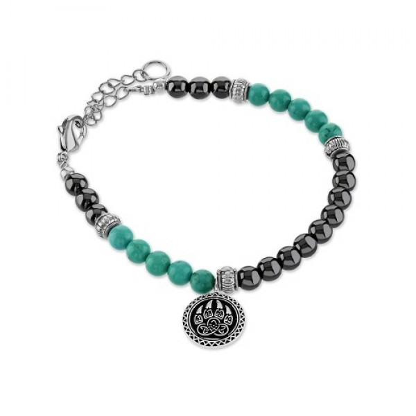 Men's Turquoise  Bracelet with Bear Claw Charm