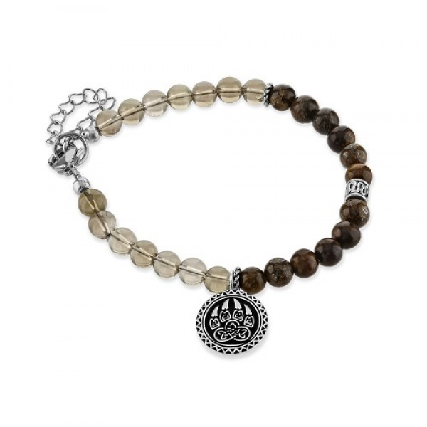 Men's Bronzite  and Smoky Quartz  Bracelet with Bear Claw Charm