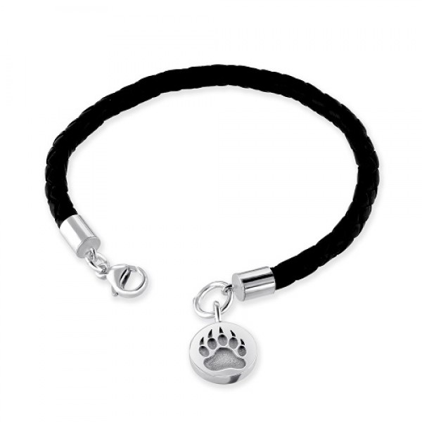 Men's Leather  Bracelet With Bear Claw Charm in Black