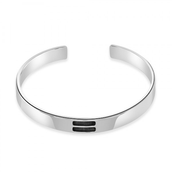 Men's Classic Heavy Silver Bangle with Equality Sign