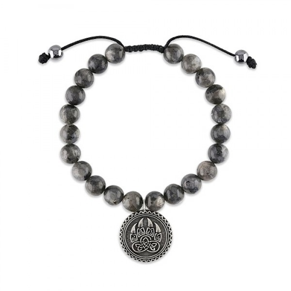 Men's Luxury Mala Bracelet with Larvikite Beads