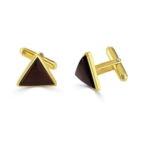 Gold Plated Triangle  Amethyst Cufflinks