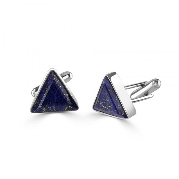 Sterling Silver Lapis Triangle Cufflinks
