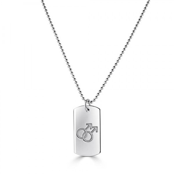 Men's Sterling Silver Dog Tag Necklace with  Gay Pride Symbol