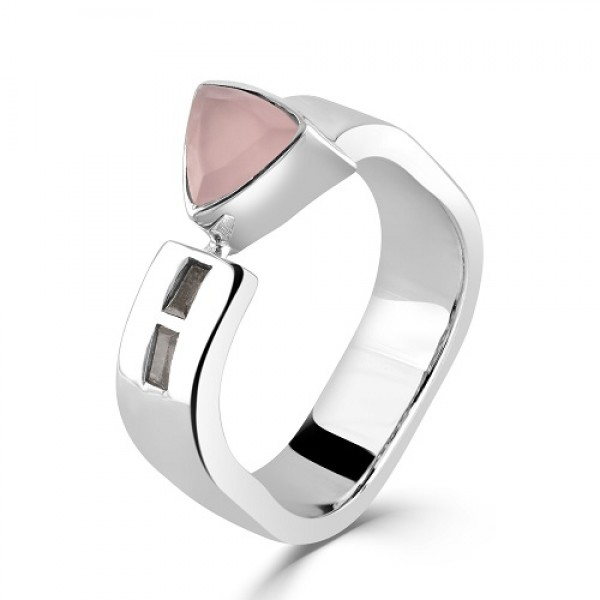 Women's Rose Quarts Triangle Silver Ring