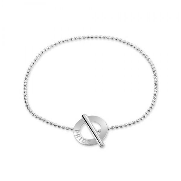 Lesbian Pride Ball Bead Bracelet