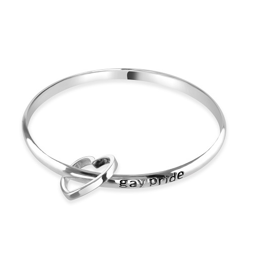 Women's Open Heart Silver Bangle