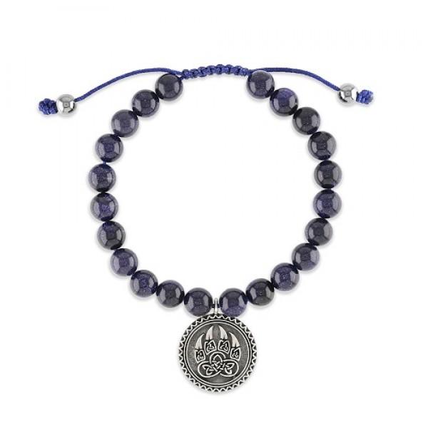 Men's Blue Sandstone Wrist Mala Bracelet