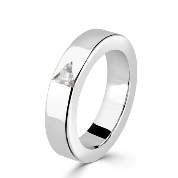 Women's Silver Ring with Triangle Zirconia Stone