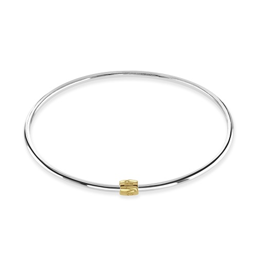 Women's Silver Bangle with Round Gold-Plated Charm